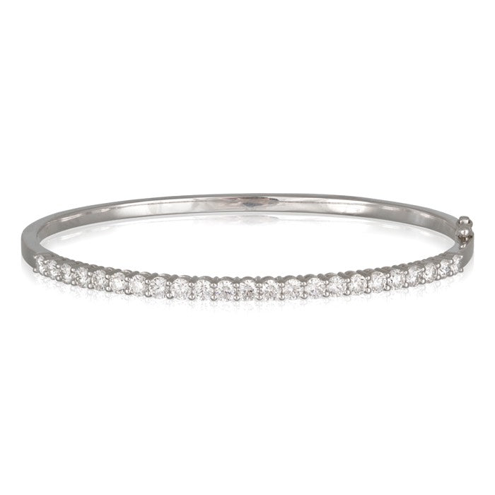 18ct White Gold Claw Set Diamond Hinged Bangle