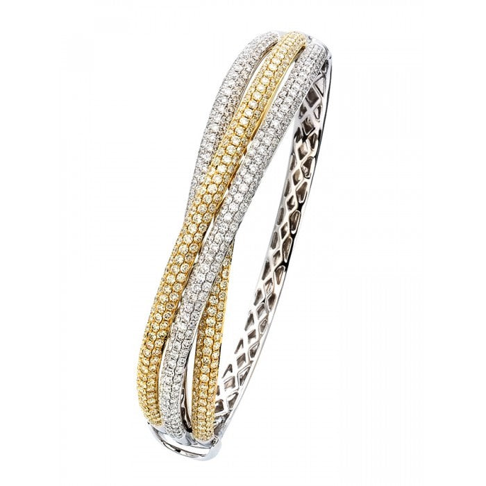 18ct White and Yellow Gold 3 Band Pave Set Diamond Bangle