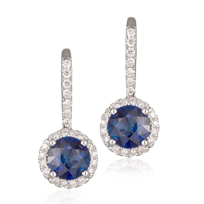 18ct White Gold Shapphire and Diamond Drop Earrings