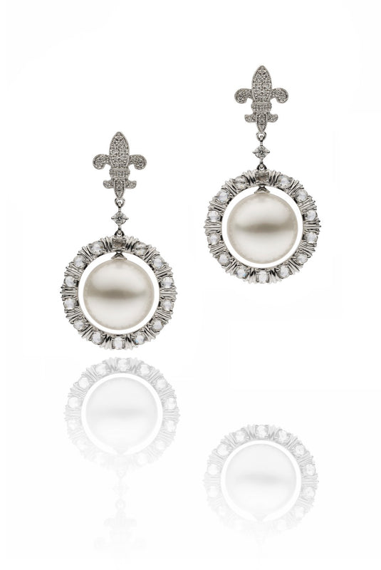 18ct White Gold South Sea Pearl and Diamond Earrings