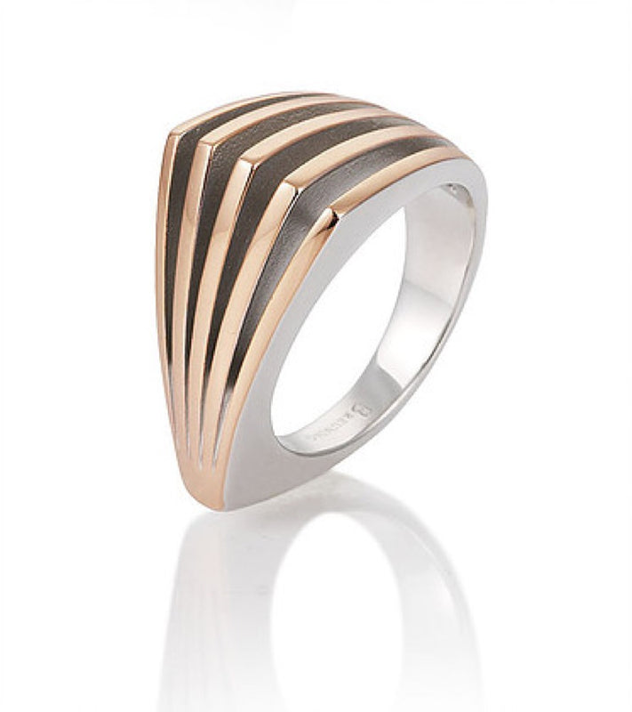 Sterling Silver and Rose Gold Plated Five Row Ring