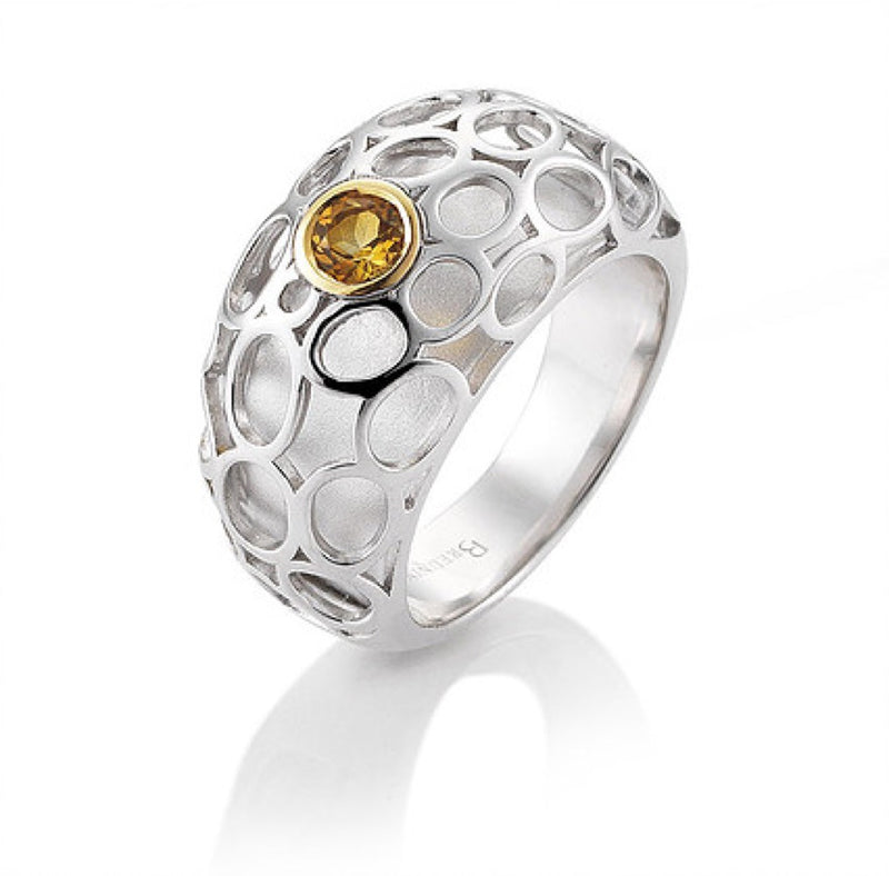 Sterling Silver and 9ct Yellow Gold Citrine Loop Ring
