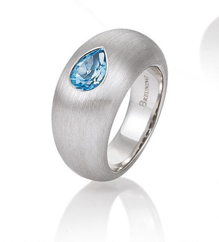 Sterling Silver Blue Topaz High Dome Ring