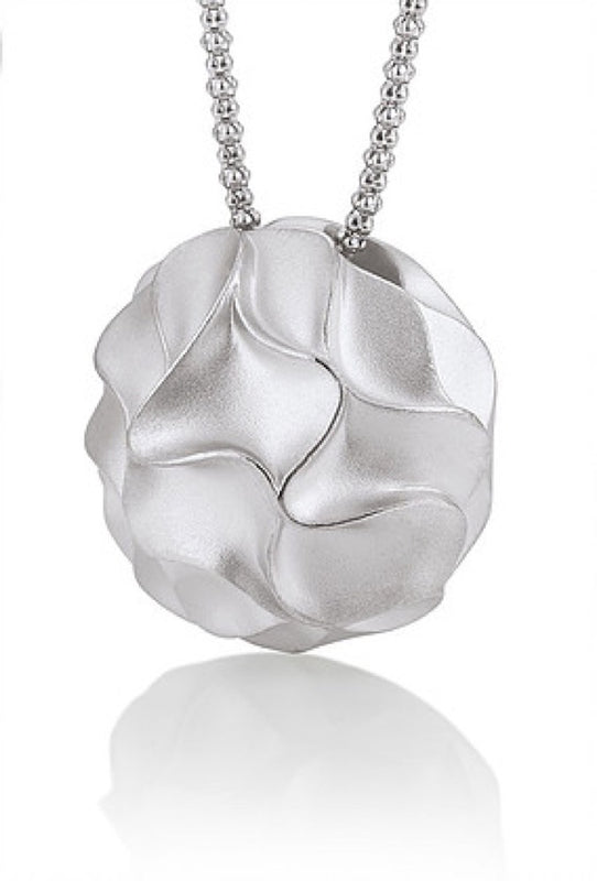 Sterling Silver Wave Ball Pendant