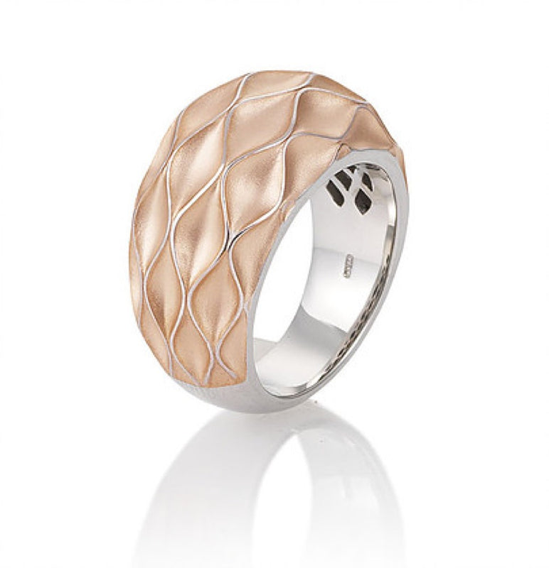 Rose Gold Plated Sterling Silver Wave Ring