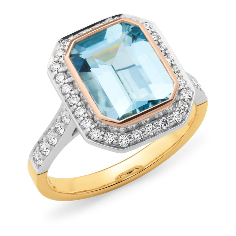 Aquamarine and Diamond Surrounds