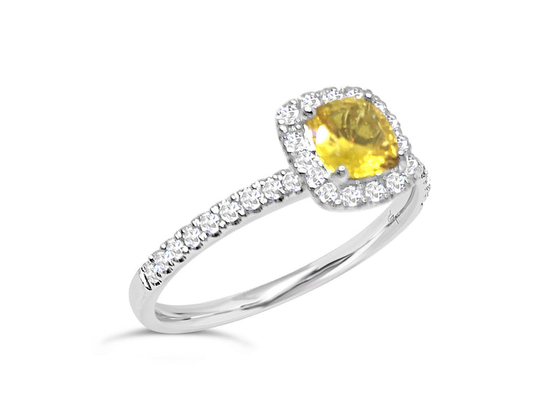 Australian Yellow Sapphire and Diamond Ring