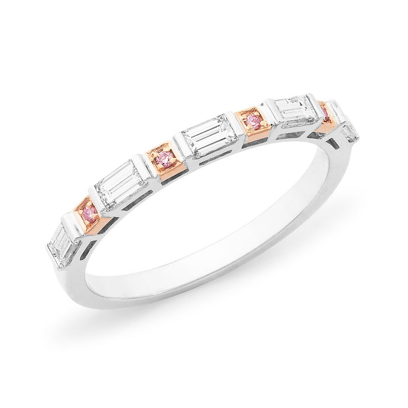 Baguette & Round Brilliant Cut Pink & White Diamond Ring