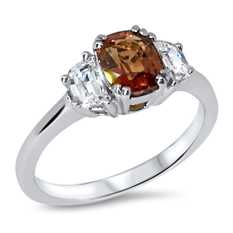 Burmese Peach Spinel and Diamond Ring