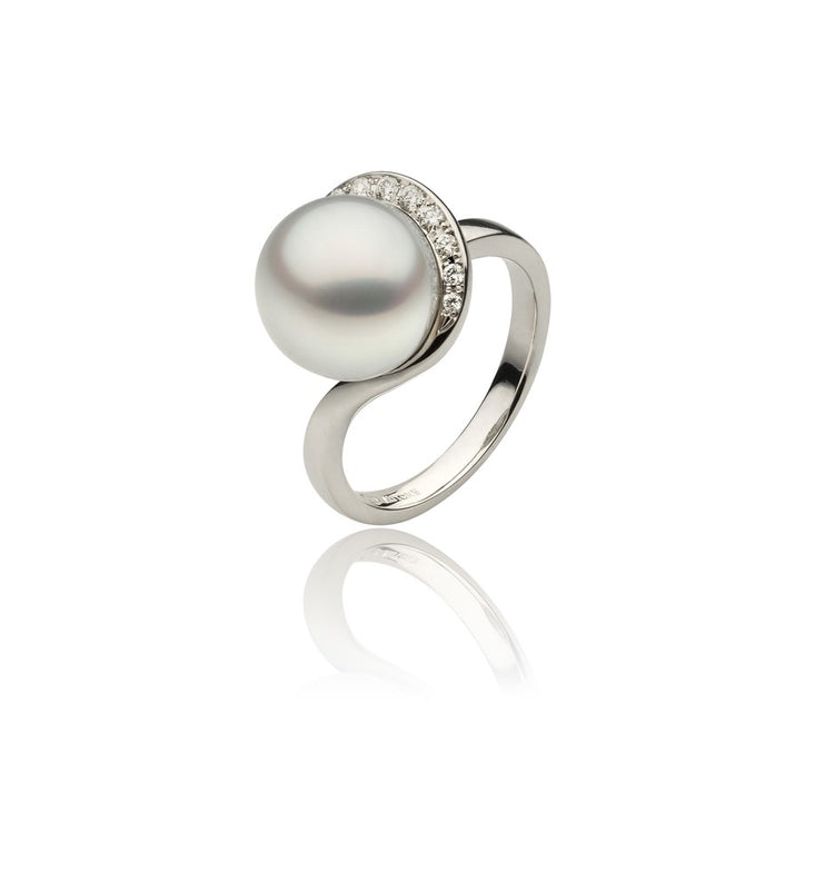 Diamond and Pearl Swirl Ring