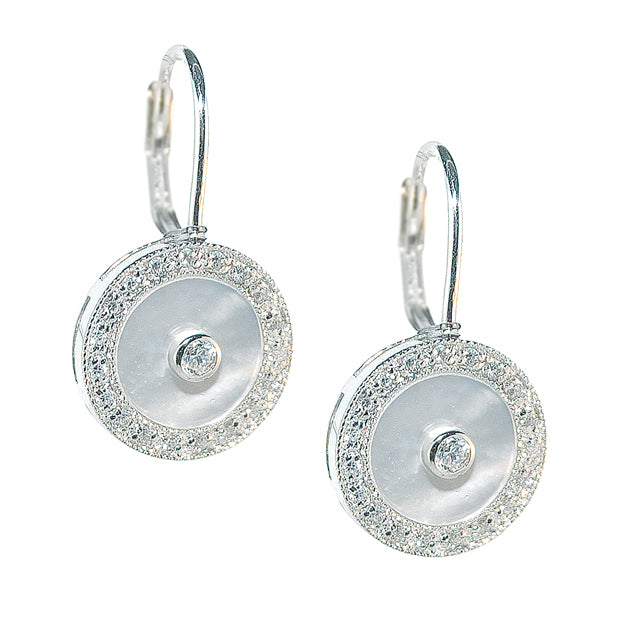 Stirling Silver, Mother of Pearl & C.Z. Leverback Earrings