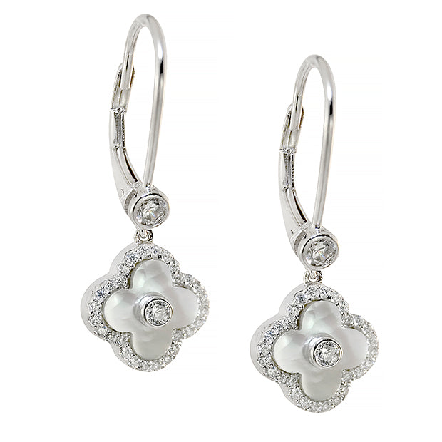 Stirling Silver, Mother of Pearl & C.Z. Flower Earrings