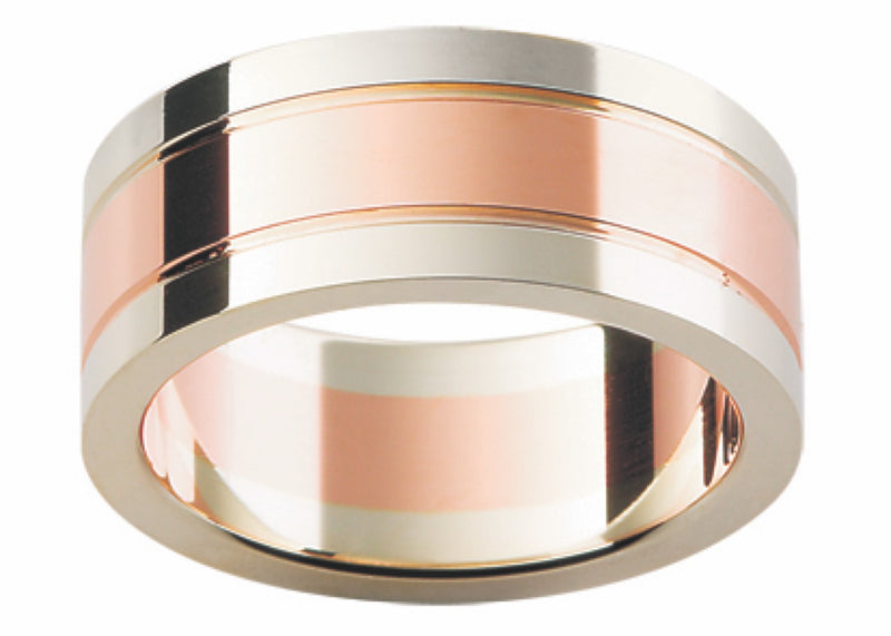 Rose and White Gold Band G25-8MM
