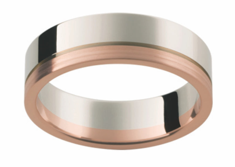 Rose and White Gold Offset Band G74-6MM