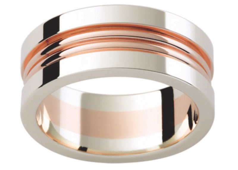 Rose and White Gold 3 Groove Band G86-8MM
