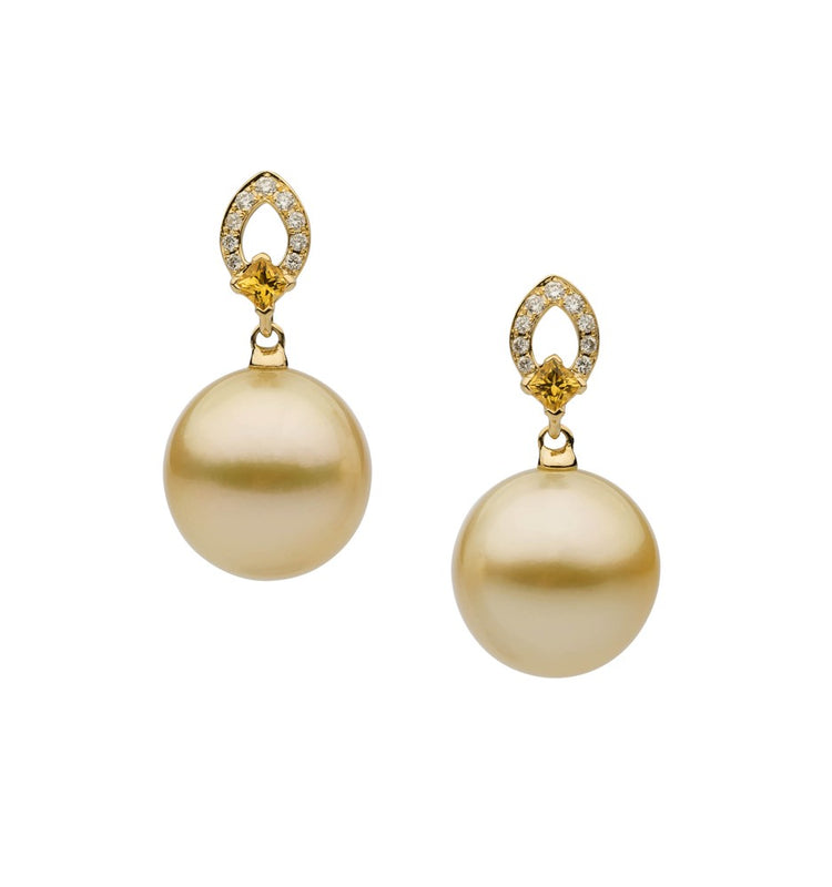 18ct Yellow Gold Round South Sea Pearl, Yellow Sapphire and Diamond Drop Earrings