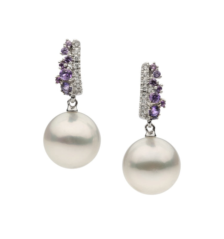 18ct White Gold South Sea Pearl and Tanzanite Earrings