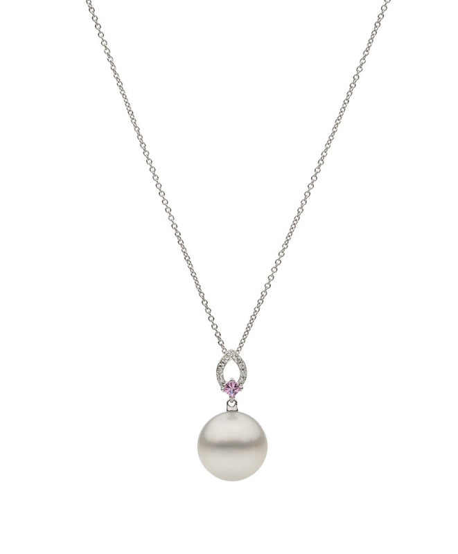 18ct White Gold Round South Sea Pearl, Pink Sapphire and Diamond Pendant