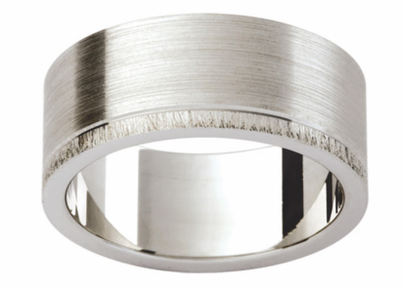 White Gold Offset Band P377-8MM