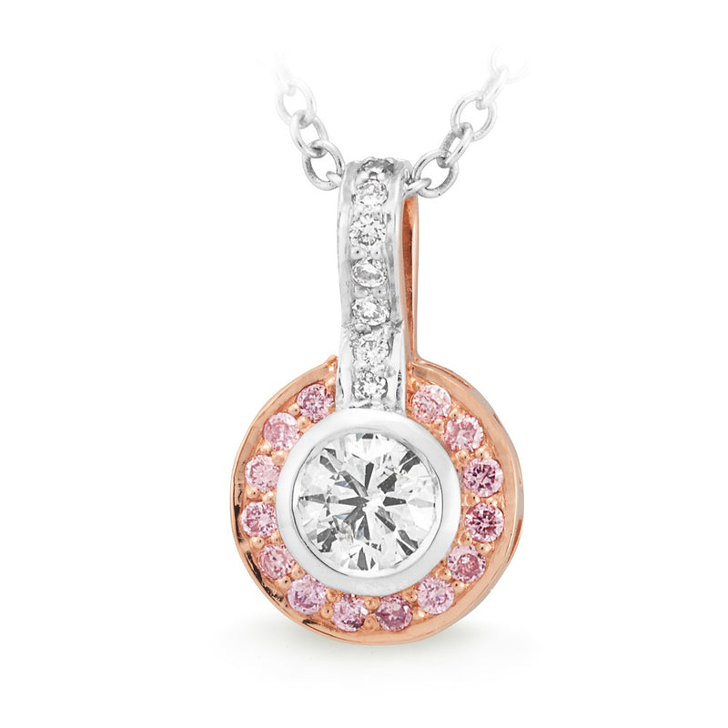 18ct Two-tone Pink and White Diamond Pendant