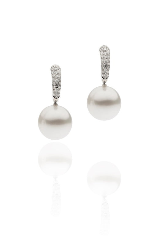 Pave Diamond Set Pearl Earrings