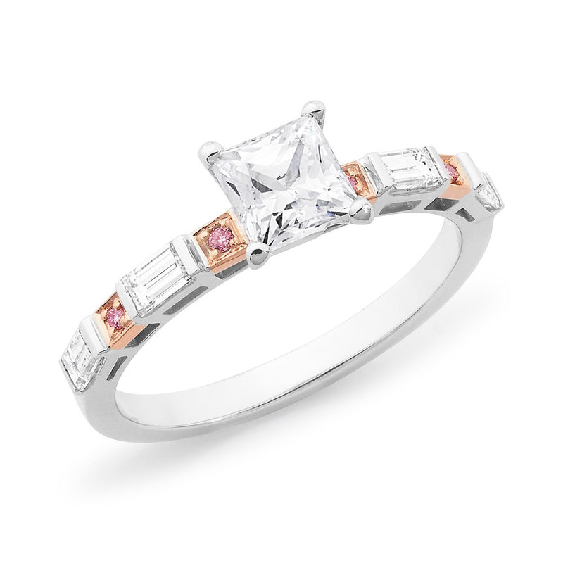 Princess, Baguette & Round Brilliant Cut Pink & White Diamond Ring