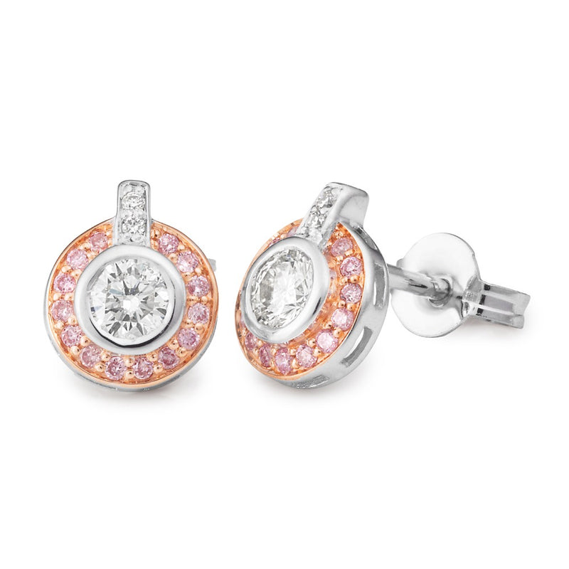 Rose & White Gold Pink & White Diamond Stud Earrings