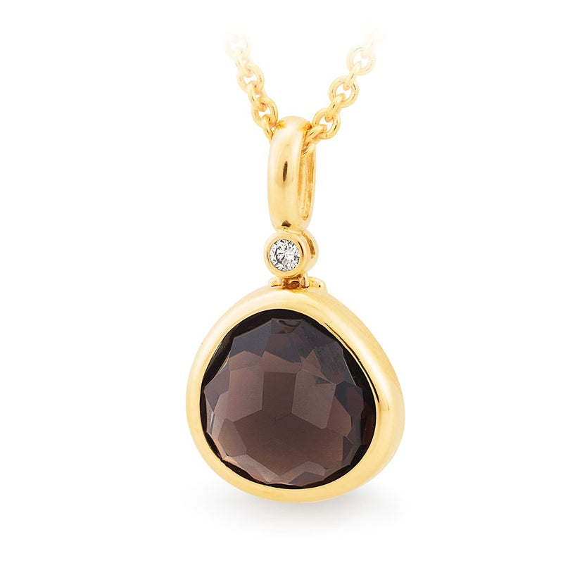 Smoky Quartz and Diamond Pendant