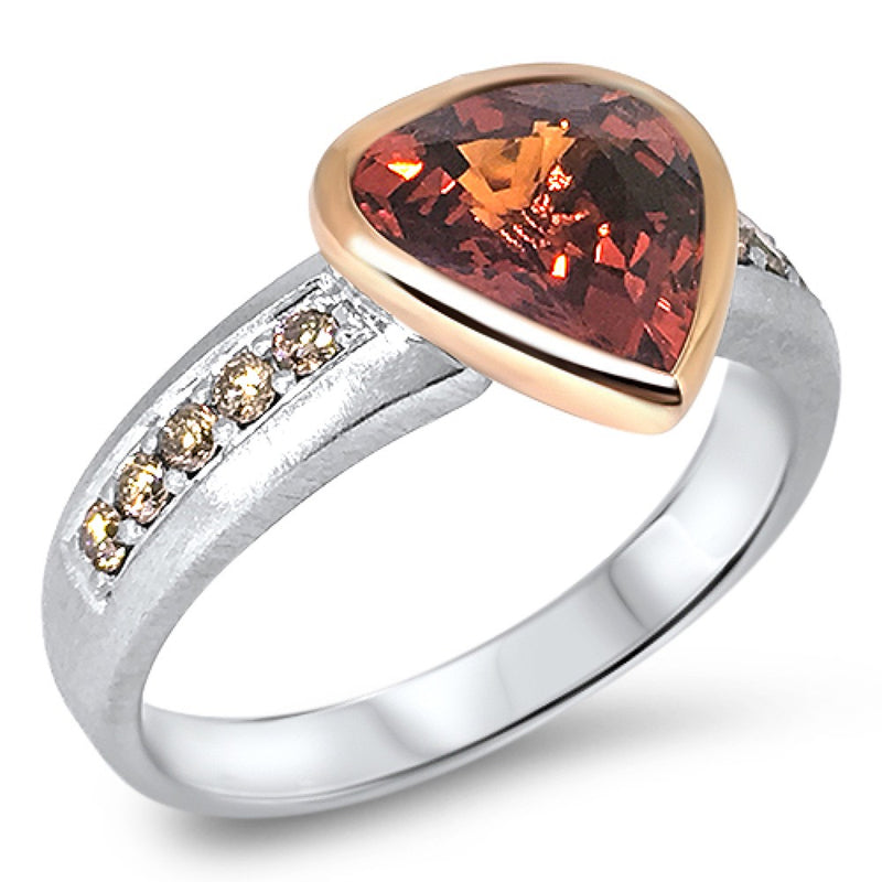 Spessartite Garnet and Argyle Cognac Diamond 2-tone Ring