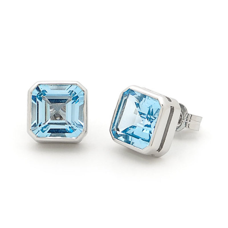 White Gold Topaz Bezel Set Stud Earring