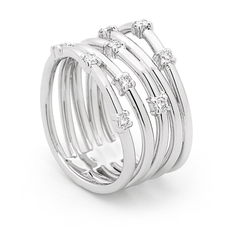 White Gold and Diamond 5 Band Ring