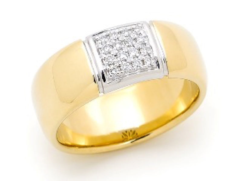 Wide Yellow Gold Band With Pave Set Diamond Top