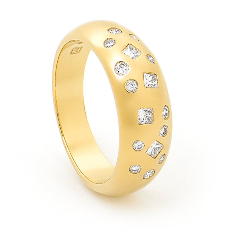 Yellow Gold and Diamond Scatter Set Ring