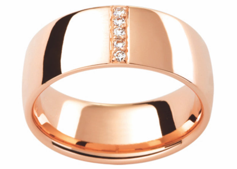 Rose Gold Diamond Set Wide Band D129