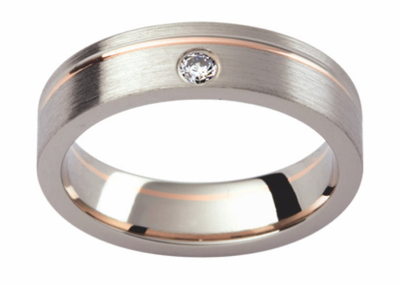 Rose and White Gold Offset Diamond Band DJ124