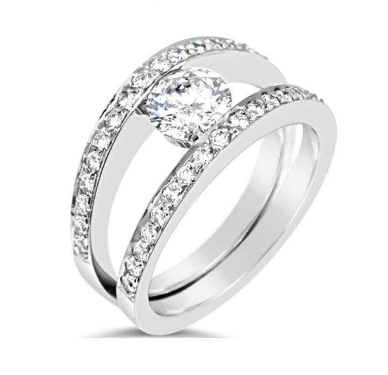 Double Diamond Band With Pressure Set Large Centre Diamond