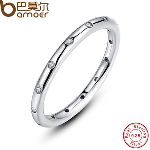 925 Sterling Silver Stackable Finger Classic Ring for Women with High Quality CZ Cubic Zirkonia