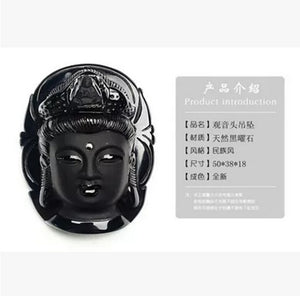 Buddha Natural Black Obsidian Carved Pendant Necklace