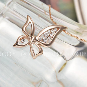Butterfly Pendant Necklace With Crystals Rose Gold Plated