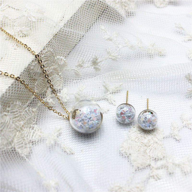 glass star jewelry set stud earrings for women necklaces & pendant (many colors available)