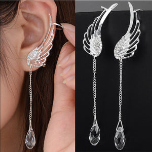Silver Plated Angel Wing Crystal Clip Earrings