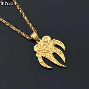 Bear Claw Pendant Necklace Gold or Silver