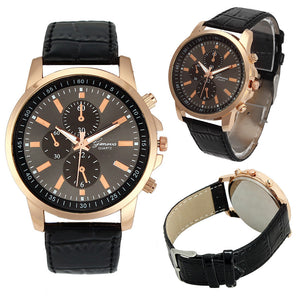 New Fashion Women Men Wrist Watches Casual Faux Leather Three Eyes Dial Quartz Watch