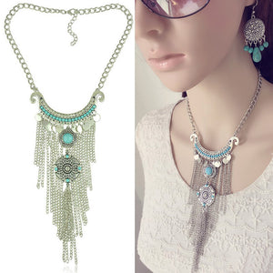 Splendours Vintage Lady Woman Silver Color Tassel Power Necklace