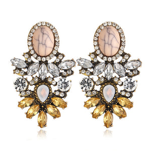 High Quality Big Crystal Flower Drop Earring for Women