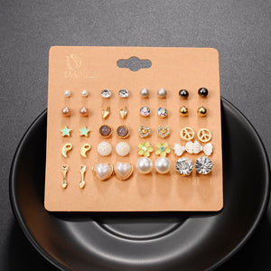 20 Pairs/lot Fashion Stud Earrings Set Crystal Flower Bow Arrow Star Heart Flower Owl Cross
