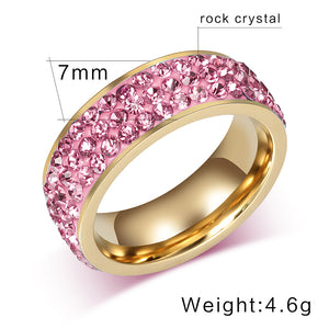 Vintage Ring for Women Stainless Steel 3 Row Crystal Cubic Zirconia ( 6 Color available)