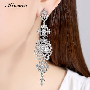 Silver or Gold Color Crystal Long Earrings