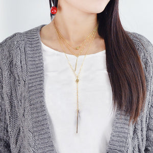 Gold-Color Silver Color Link MultiLayer Chain Necklace