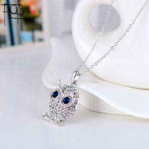 Owl pendant necklace with high quality Austrian rhinestones platinum plated
